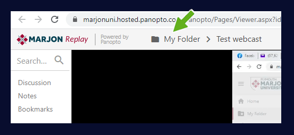 Showing the my folder area in panopto