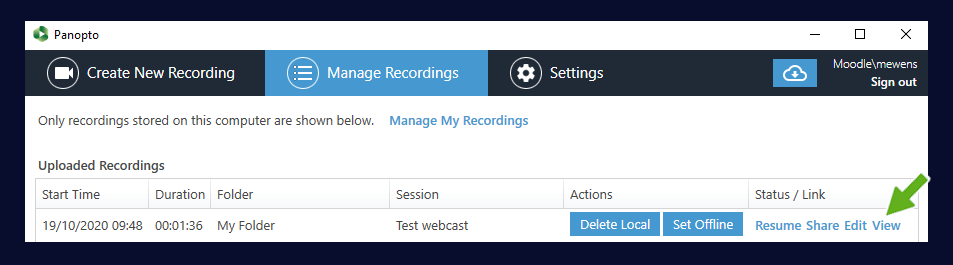 Showing the manage recordings area