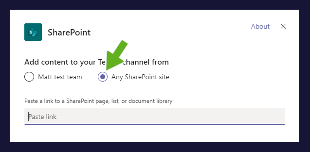 any sharepoint link