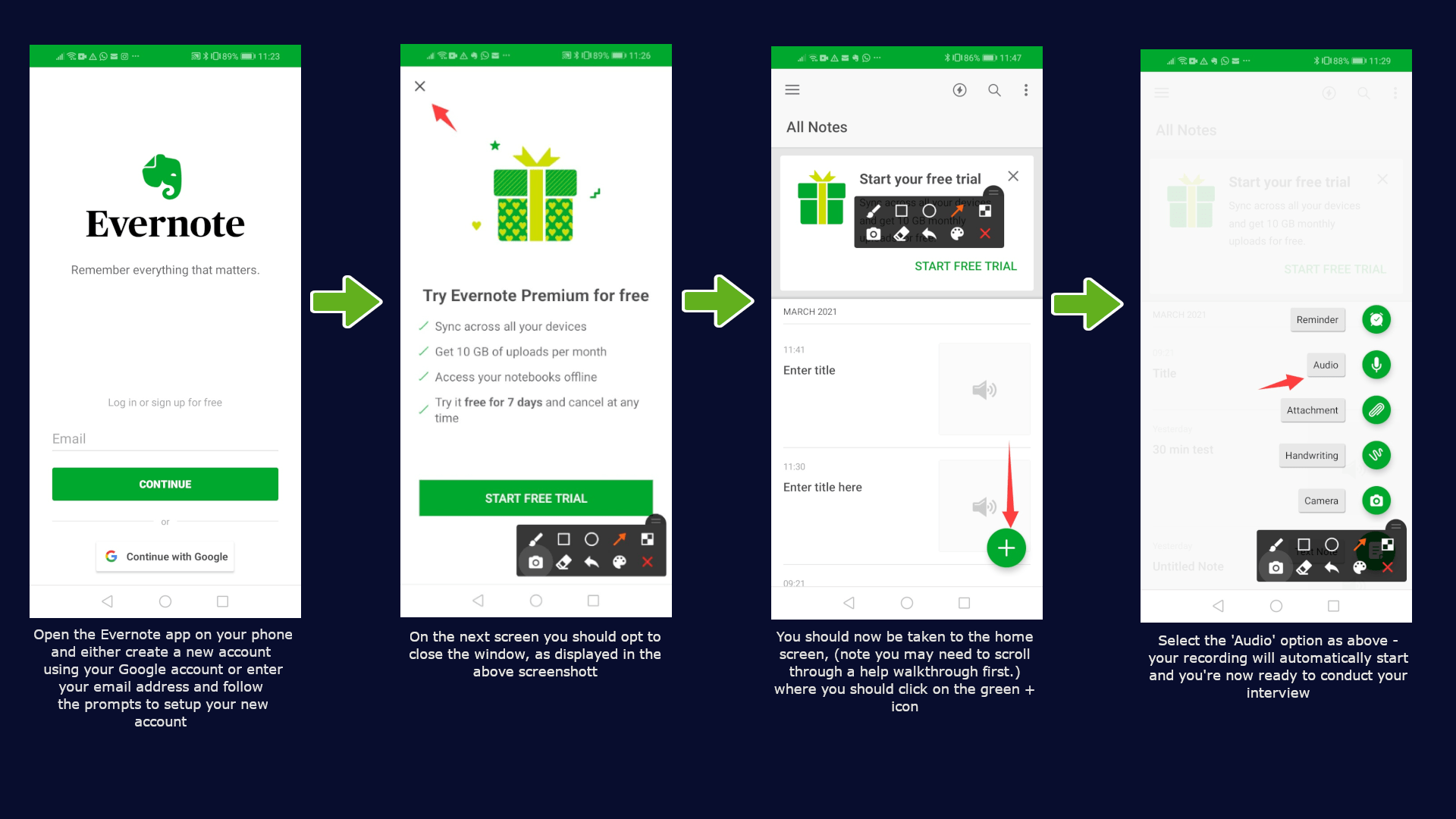Evernote steps