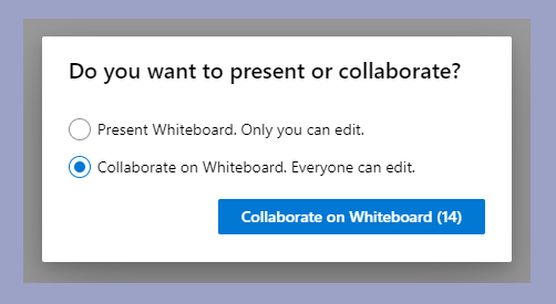 Showing the whiteboard options