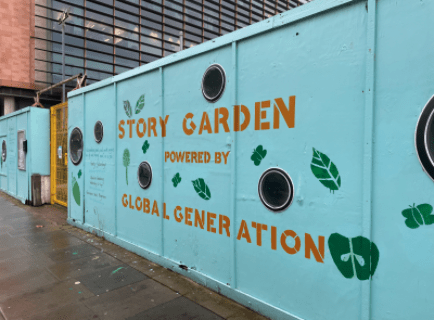 Image of cladding with Story Garden graphics painted on