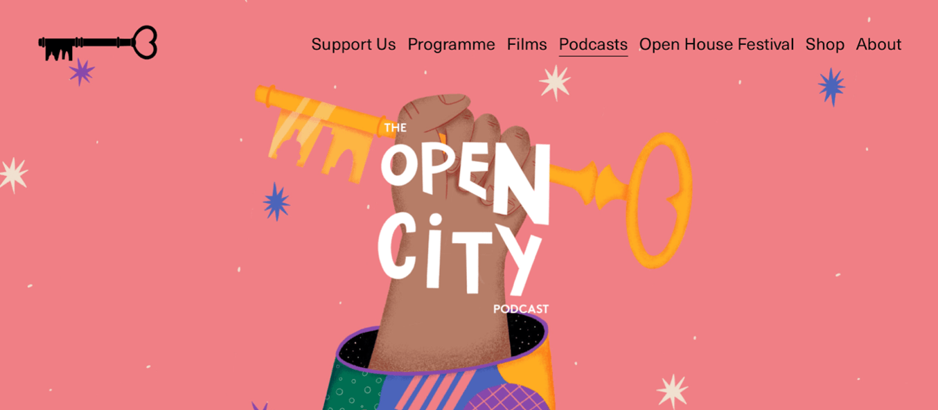open city podcast web page snippet with pink background and hand holding a key with open city title overplayed on top
