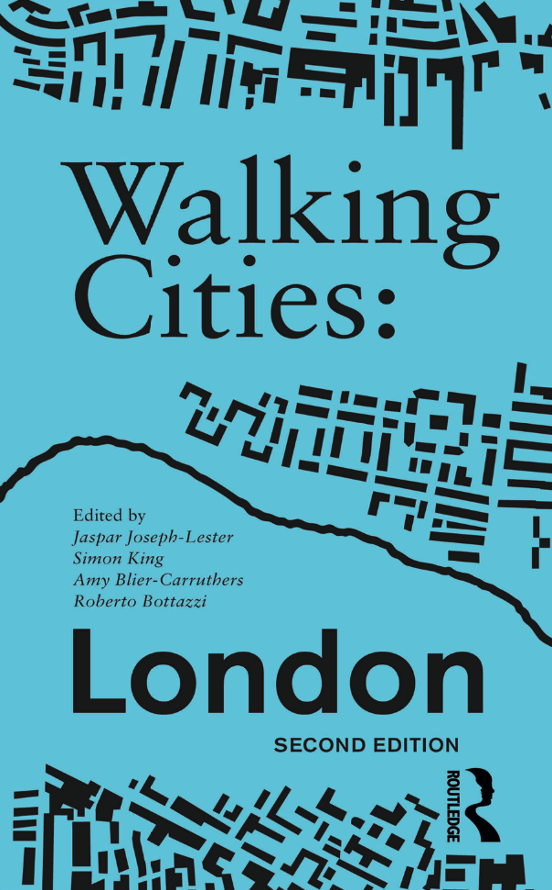 walking cities London front cover includes blue background, black text and a set of black shapes that look like a section of the London map