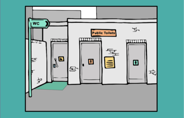 A cartoon of a public toilet block in grey and green.