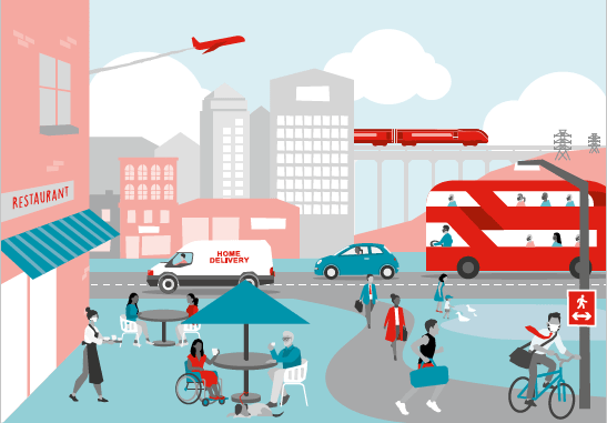 A cartoon of a city in blue and red showing people and transport including bueses and planes.