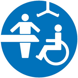 Blue changing places logo.