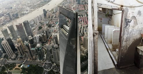 The view from the top of a tall building next to an image of a public bathroom.