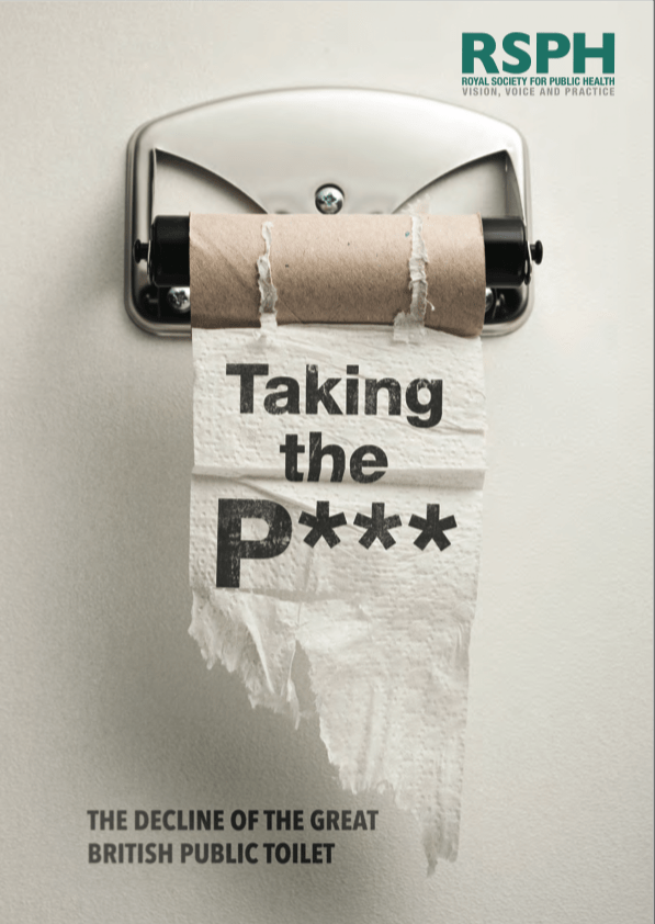 The front cover of the report: Taking the P***: the decline of the great British public toilet showing a toilet roll on a metal holder with the title of the report overlayed in black.