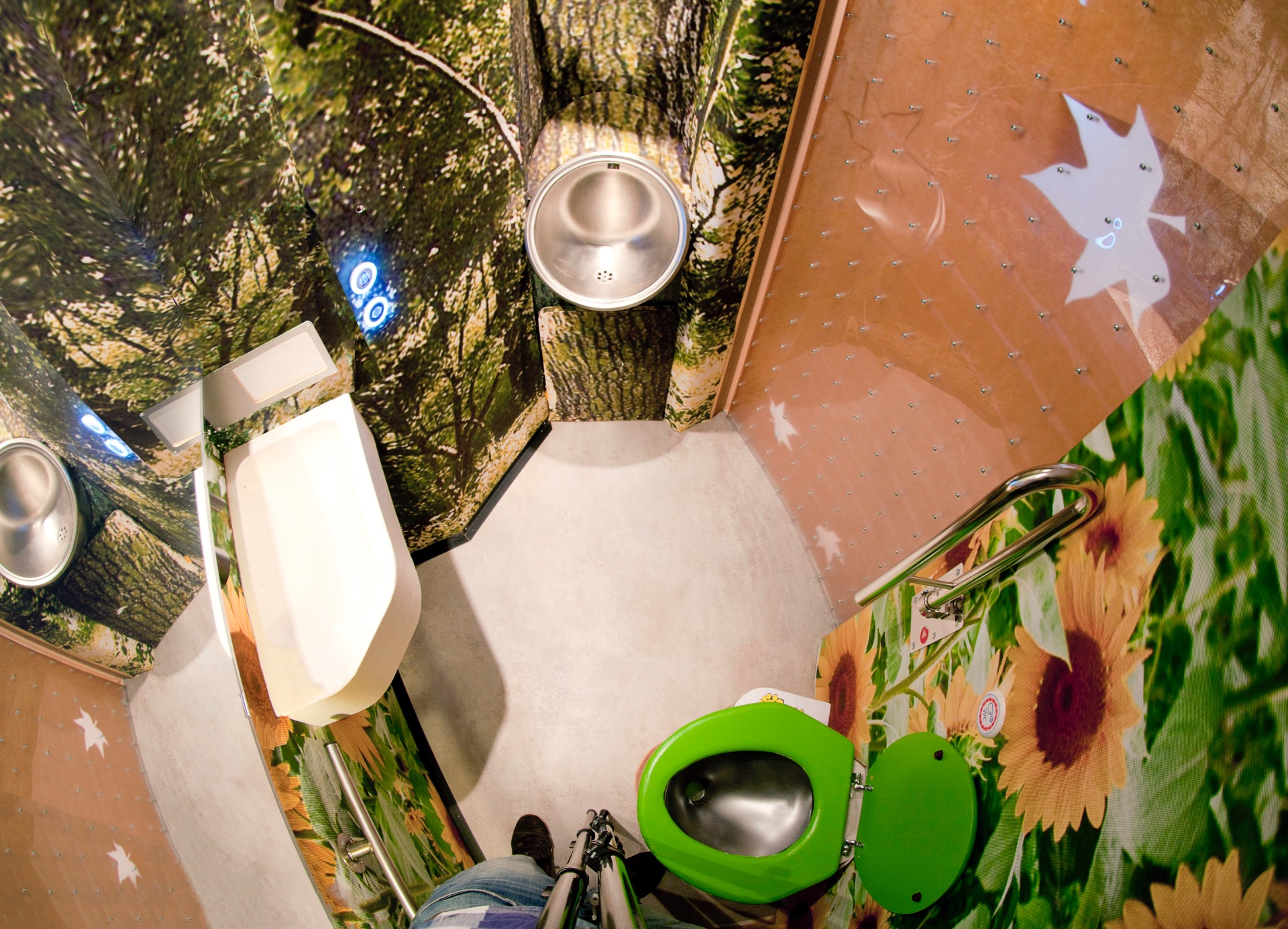 Automatic accessible train toilet with wall super-graphics of trees and flowers