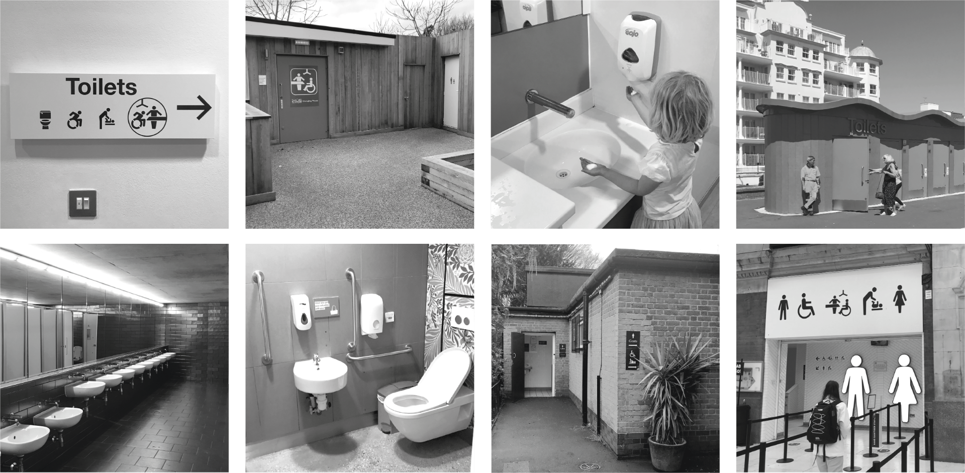 Eight black and white images of toilets showing: inclusive signage, Changing Places, children's sink, seaside toilets, row of sinks, accessible toilet, park toilet, station signage