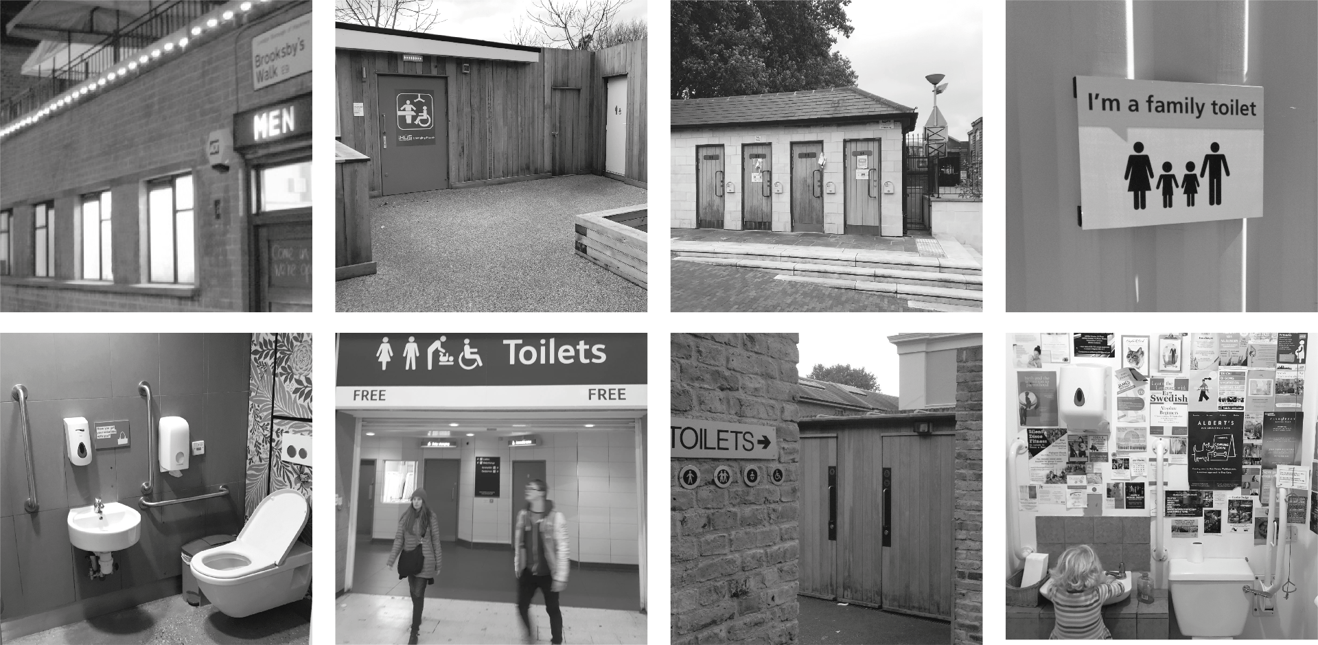 Grid of eight black & white images of inside and outside toilets