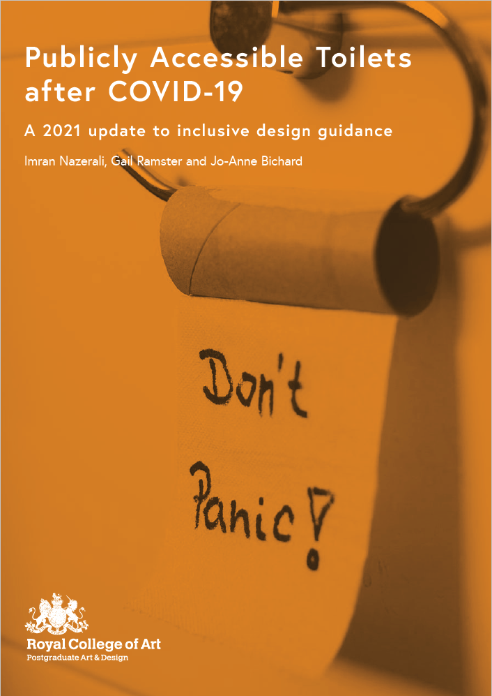 Image of Front page of Guide, orange background, toilet roll with 'Don't Panic' written on the last piece