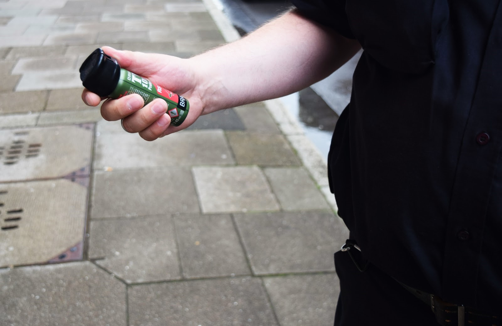 In Hamburg, Germany security guards also carry pepper spray as part of their equipment. This security guard, who requested to go unnamed, says he has never had to use the pepper spray and hopes he never has to. Sharmaine Jenny Penning/DMJX