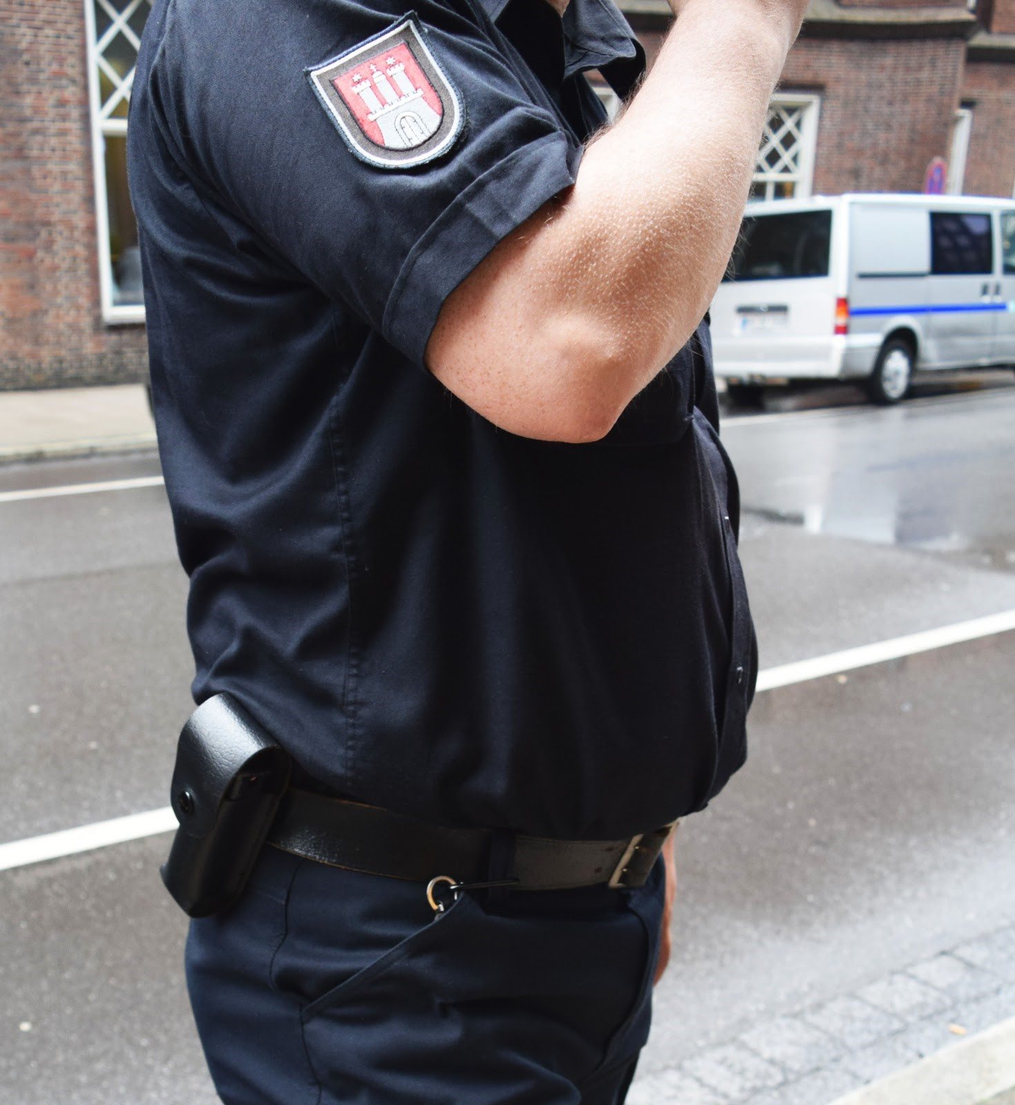 A security guard, patrolling the streets of Hamburg, Germany, carries pepper spray on his belt. He says the difference between his pepper spray and civilian pepper spray is the weight of the bottle and strength of the spray. Sharmaine Jenny Penning/DMJX