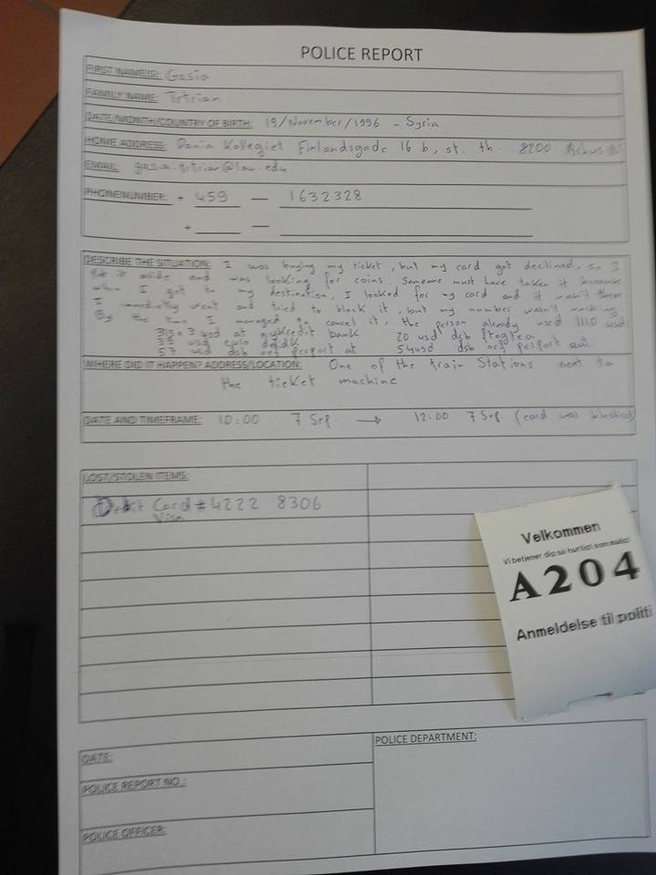 Photo: Filled out Police Report