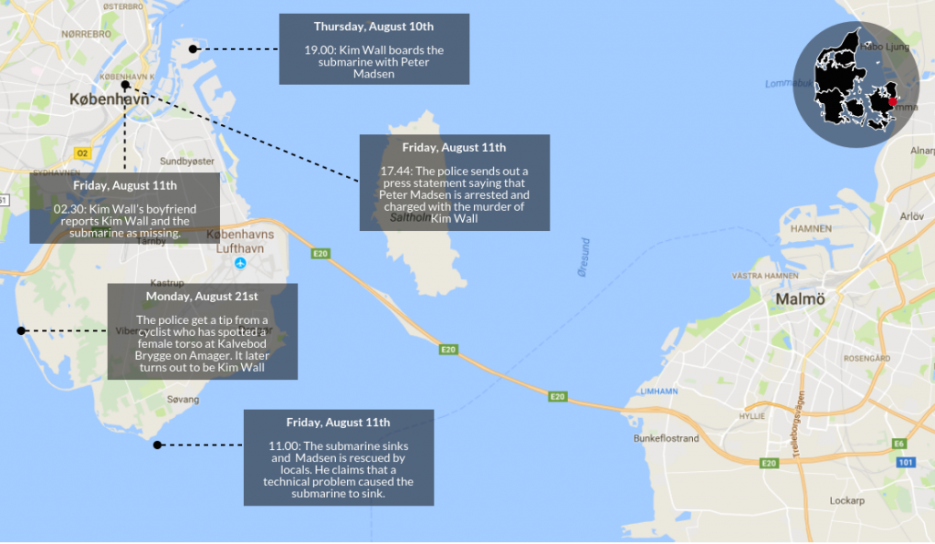 The early developments in the submarine murder case. Infographic: Rasmus Jungersen & Lucy Samson