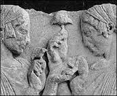 Persephone giver en rød fluesvamp til sin datter
