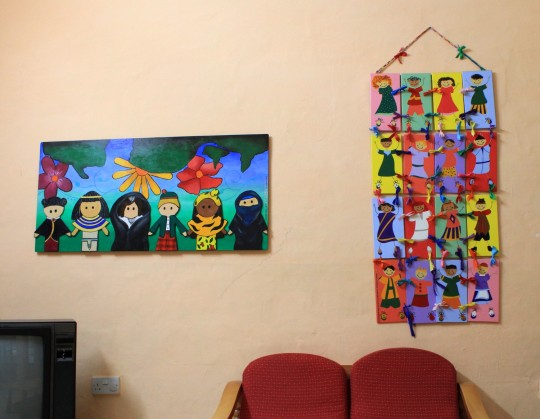 Walls in St Paul's Bay primary school are decorated at the image of its cultural diversity - Photo by Amel Semmache