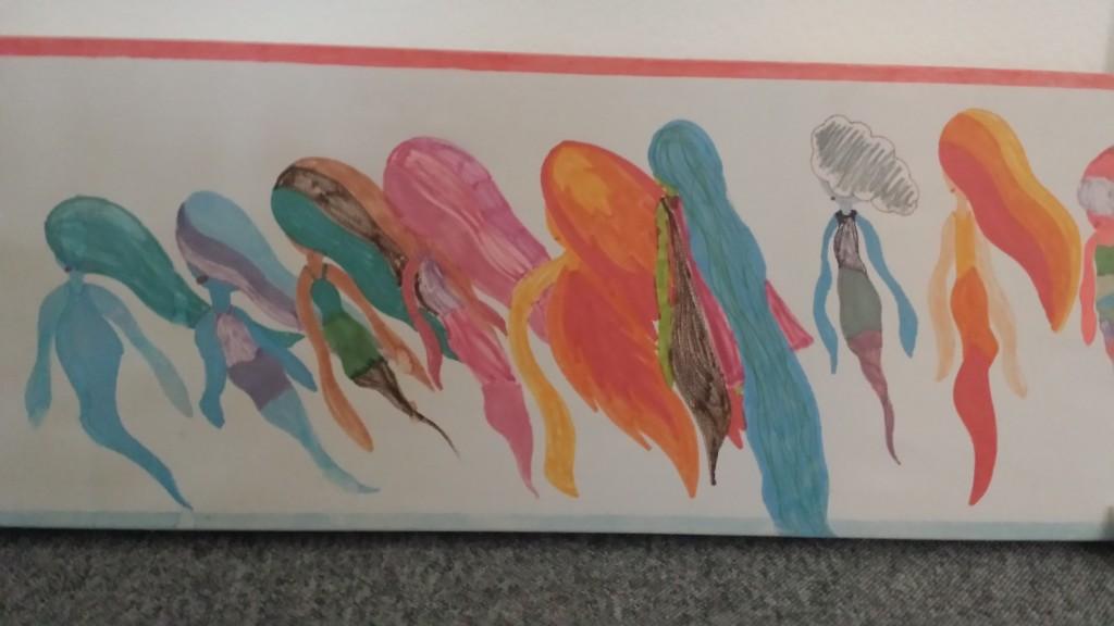 Sådan ser det ud, når børn tegner spøgelser hos Ulla Dyrløv. Foto: Signe Hansen