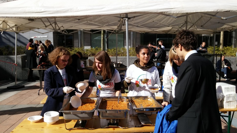 Free vegetarian food outside the EU Parliament
