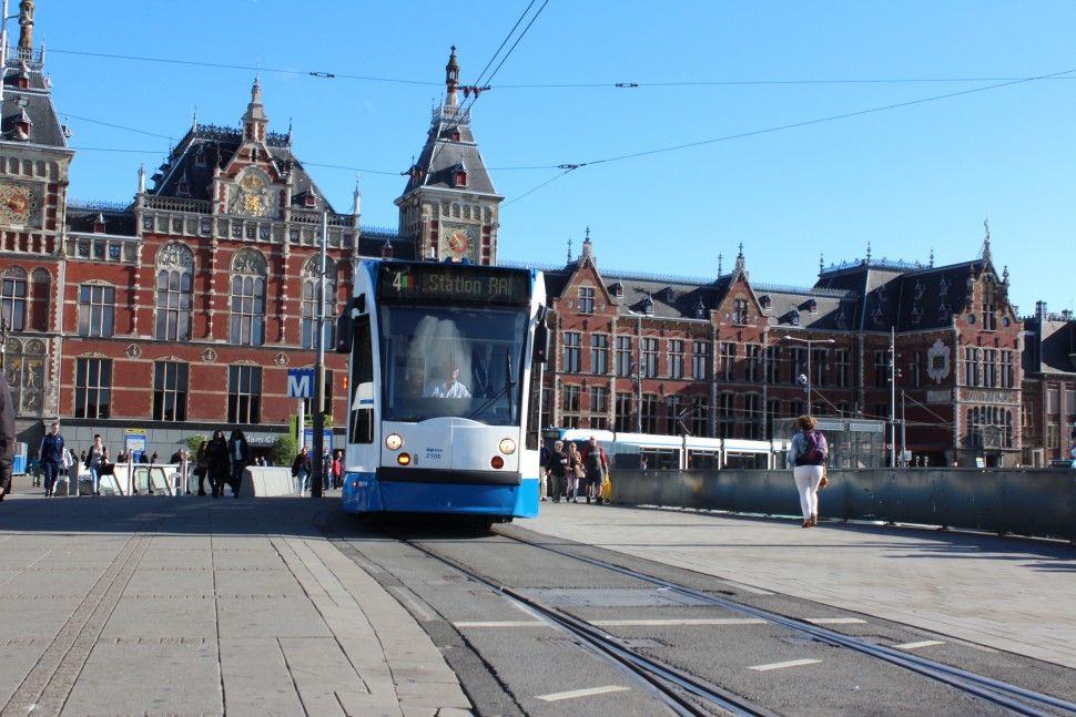 Amsterdam Centraal Train Station, the largest train station in Amsterdam with 250,000 daily visitors.