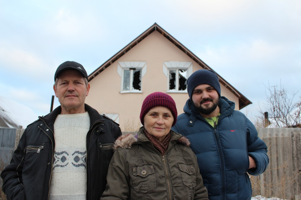 A Russian family living in the civilian area near the destroyed Donetsk airport
