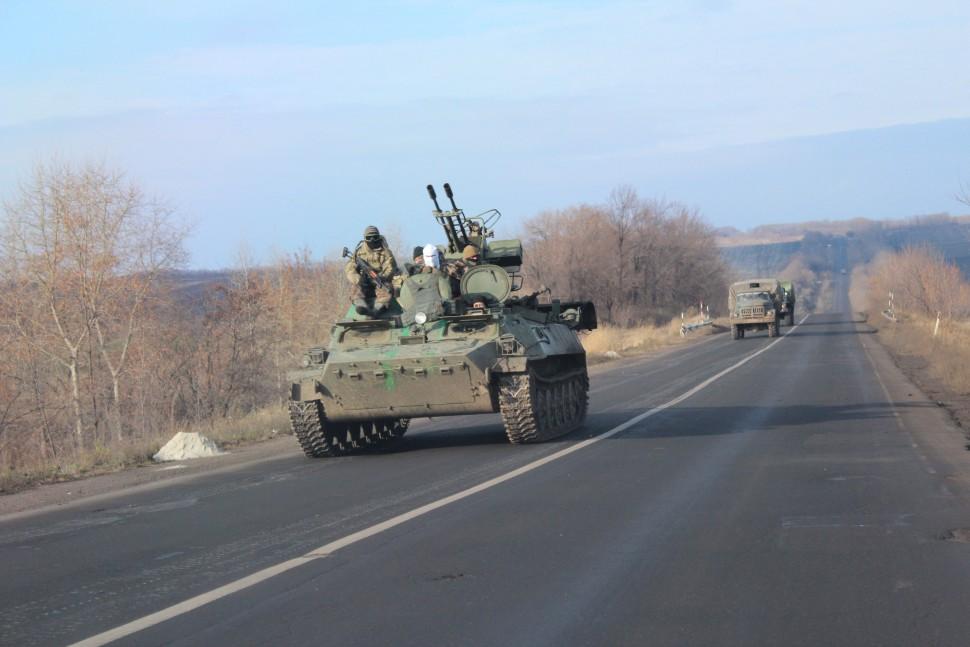 Ukrainian soldiers drive through the Anti-Terrorist Operation zone in Artemivs'k, eastern Ukraine.