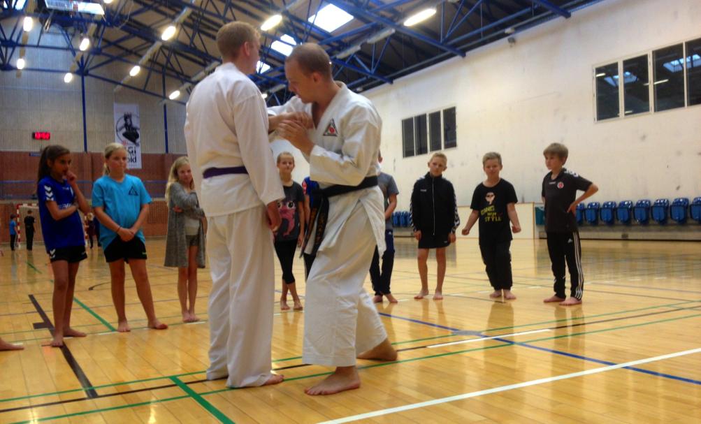 En af Holstebros lokale karateklubber har tre trænere med i projektet for at lære elever karateslag og –spark. Foto: Jeppe Hostrup