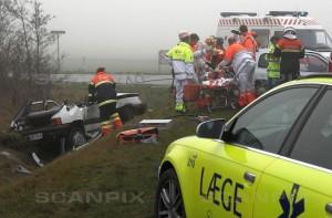 To af de tre involverede er allerede døde af deres kvæstelser, mens den tredje ligger på Herning Sygehus. Foto: Poul Rasmussen