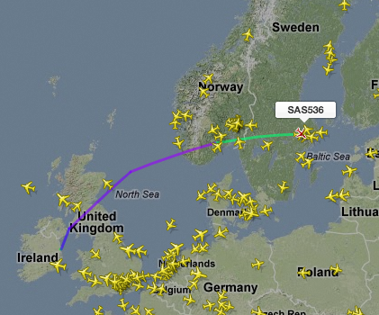 The SK536 flies from Dublin to Stockholm and back several times a week. A common European airspace could shorten the distance it has to travel Illustration: flightradar24.com
